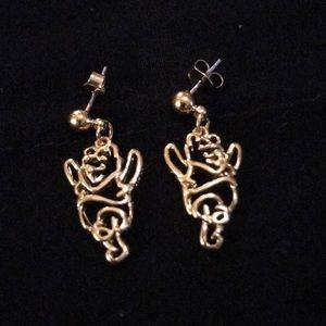 Disney Goldtone Winnie the Pooh Dangle Earrings